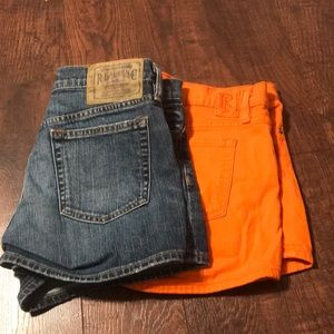 Two pair of Ralf Lauren jean shorts in size 29.